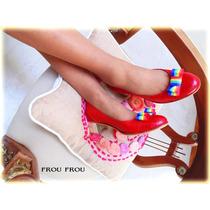 Zapatos De Cuero Rojo Reptil Taco 3,5 Cms Platino- Frou Frou