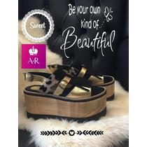 Zapato Sandalia Alta Con Plataforma Y Fleco Divina!!