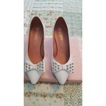Zapatos De Cuero Blancos Con Moño Y Tachas T. 35 Sibyl Vane