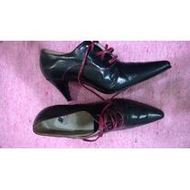 Botinetas Zapatos Vestir N°39-cuero Y Forrados-taco 7.5cm.