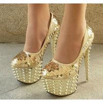 Zapato Importado Estileto Plataforma Taco Alto.dorado Lentej