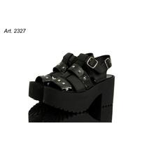 Zapato Sandalia Con Plataforma - Cocharol Y Tachas Plateadas
