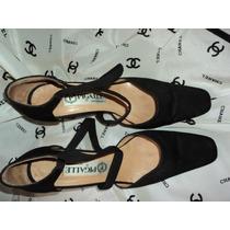 Bellos Zapatos Pigalle, En Raso Negro, Tipo Guillermina Nº39