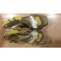 Zapatos Sandalias Prune Verde Lima Y Musgo Prune Cuero