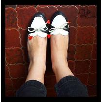 Mocasines Negro Y Blanco 100% Cuero Calidad De Exportación