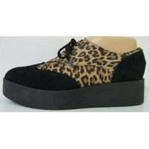 Zapatos Plataforma 39 Cuero Vacuno Negro Leopardo (ana.mar)