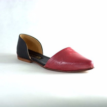Clippate Zapatos En Punta En Cuero Chatita Ballerina Rojos