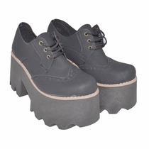 Zapato Con Plataforma - Cuero Ecológico - Otoño Invierno