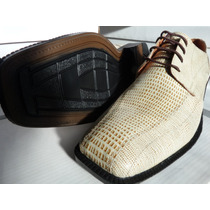 Zapato Vestir En Cuero Real Natural Lagarto/blanco Marron