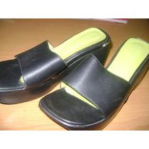 Zuecos Sandalias Ricky Sarkany Cuero Negro Nro 37 Plataforma