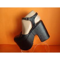 Zapatos Estilo Goticos Cuero Nro.37 Color Negro