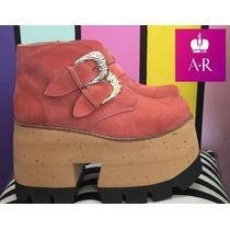 Zapato Bota Con Hebilla Con Plataforma Alta!! Hermosa!!