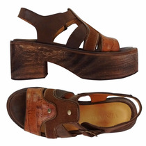 Sandalias Mujer Plataforma Zapatos Madera Taco Cuero
