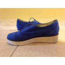 Zapatos Gamuzac/plataforma Zara Azul Electrico, Sin Uso