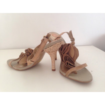 Stiletos Zapatos Sandalias Deuk, T:36 Cuero Gamuza Original