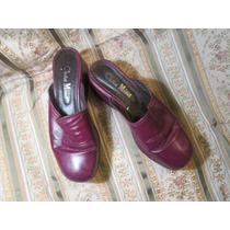 Sueco Cuero Crist Monel Talle37 Color Purpura Bordo Cuero