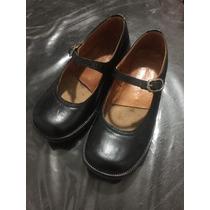 Hermosos Zapatos Colegial Febo Cuero, Negros T. 29-30