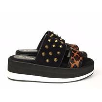 Zapatos Plataformas Sandalias Cuero Pelos Tachas Animalprint