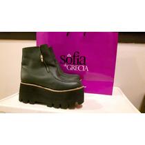 Zapatos Sofia De Grecia Botas Plataforma Tractor Negros