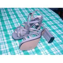 Sandalias Forradas En Raso Plateadas Nuevas Fiesta 38