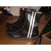 Botas Color Negras Con Tiras Plateadas N°35. Ultimo Par!!