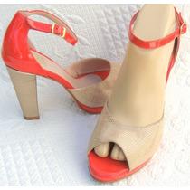 Paz Colombo Zapatos 38 Cuero Rojo Coral Beige Dorado-ana.mar