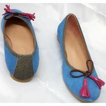 Chatitas Cuero Azul Con Brillo Ribete Cuero Reptil Flecos Fu