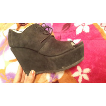 Zapatos Gamuza Talle 39 Negros Cordones