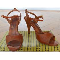 Zapatos Sandalias Taco Aguja Retro Vintage De Cuero
