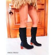 Botas Largas Cuero Negro Taco 6,5 Comodas - Frou Frou Shoes