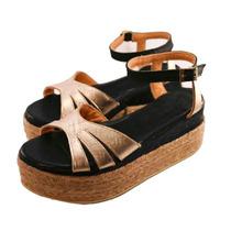 Sandalias Zapatos Mujer Cuero Base Yute Negras Doradas Bajas
