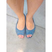 Zapatos Sandalias Natacha En Cuero Azulinas Chatitas Usadas