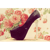 Zapatos Mujer Importados Plataforma Taco Negro Strass Fiesta