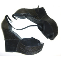 Zapatos Sandalias Taco Plataforma Glitter Negro 38 Fiesta