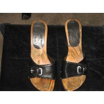 Sandalias Suecos De Madera Color Negro Nº 35