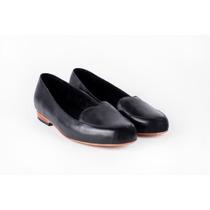Zapato Chatita Balerina Bellerina Mocasines Cuero Negro