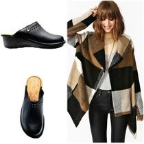 Zapatos Zuecos Cuero Calado Pina Negros Stitching Grimoldi