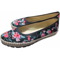 Zapatos Balerinas Chatitas Mujer Sin Taco Yute Floreadas