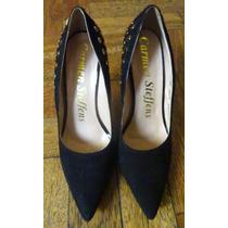 Zapatos Stilettos Carmen Steffens Negros Con Tachas Oro 39
