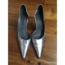 Zapatos Plateados En Cuero Ecológico Numero 36