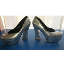 Zapatos Luciano Marra Plateados Taco Ancho Talle 38