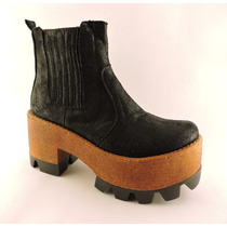 Borcegos Bota Botineta Plataforma Taco Zapato Elastic Cierre