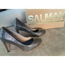 Zapatos Fiesta Noche Salman 37 Brillo Peltre Increíbles!