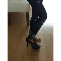 Zapatos / Sandalias Gillermina Valdez De Cuero Reptil Negro