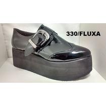 Zapatos Cerrados Cuero Con Plataforma Charol Fluxa 330