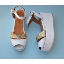 Sandalia Mujer Cuero Suela O Blanco Y Glitter Dorado