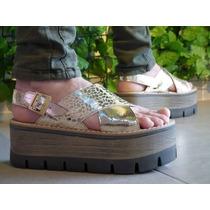 Zapatos Sandalias Plataforma Madera/goma Faja Cruzada Unicos