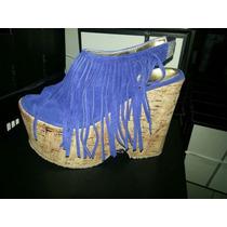 Sandalia Base Corcho Plataforma Y Flecos Color Azul- Cuero