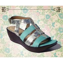 Sandalia Cuero Verde/platino