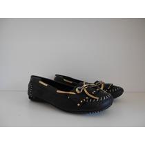Zapatos Mujer Chatitas Cuero Praxis C/flecos Y Moño